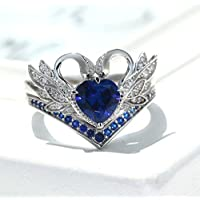 Gorgeous 925 Silver Heart Sapphire White Swan Ring Set Women Wedding Jewelry New by Siam panva (8)