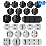 AUSTOR 24 Pieces Cable Clips Adhesive Silicone Cable Holders Desk Cable Management Clips Wire Holder for Cable, Cord and Wire, Black and Grey