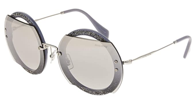 95aa8d7d7be Image Unavailable. Image not available for. Color  MIU MIU REVEAL Glitter  06S Silver Grey Crystal Pave Mirrored Sunglasses