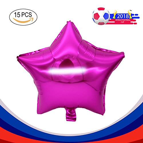 """(15PCS 18"""" Five Star Shape Foil Balloons Mylar Balloons for Graduation Party Supplies Birthday Party Wedding Decoration (Pink))"""