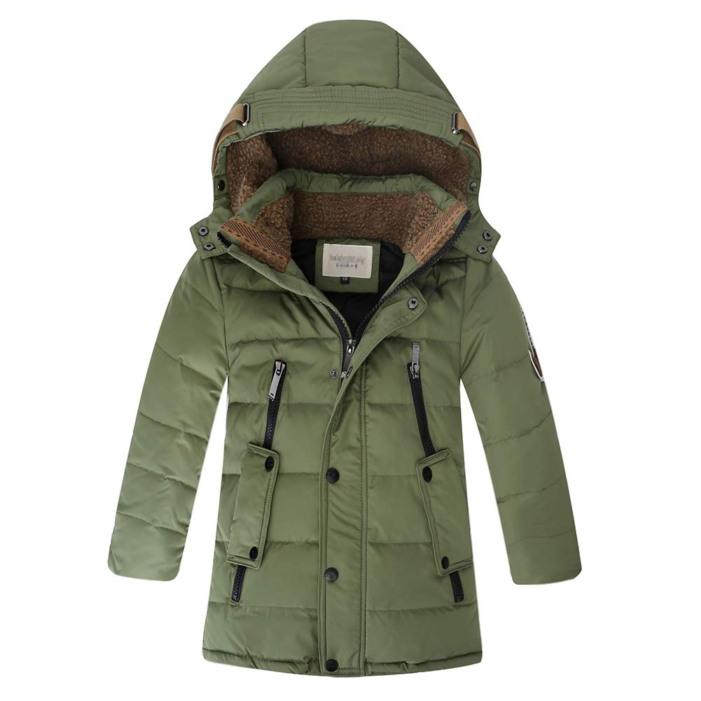 Dark Green 8 LISUEYNE Boys Kids Winter Hooded Down Coat Puffer Jacket for Big Boys MidLong