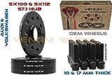 4 Pc 10mm & 17mm Staggered Set Black Hubcentric Wheel Spacers 5x100/5x112 57.1 Hub + 20 Black Ball Seat Lug Bolts