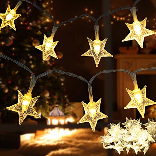 Shayson Star String Lights, 17Ft 50 LED Twinkle Fairy Lights, Battery Operated for Indoor & Outdoor Home, Party, Wedding, Garden, Princess Castle Bedroom Decorations,Warm White