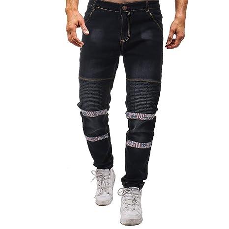 Weentop Pantalones para Hombre Pantalones Vaqueros Ripped ...