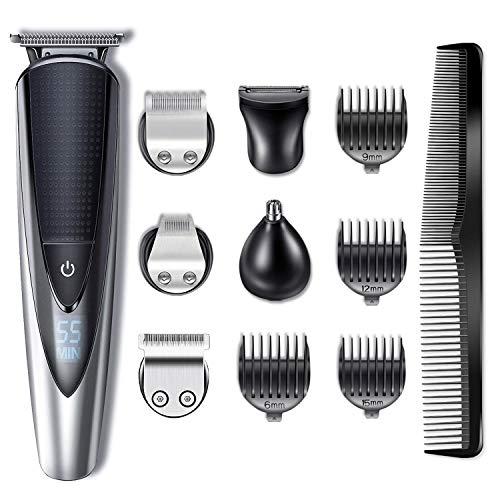 🥇 Hatteker Cortapelos Electrónico Recortadora Hombres Maquina Cortador Pelo Cortadora de Pelo Recargable Máquina Afeitar de Barba/Cara/Cuerpo