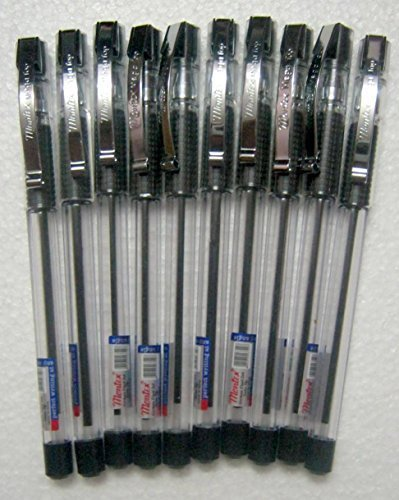 Set of 10 Montex Mega Top Black Ball Pen - Original Brand New - India