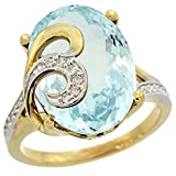 14k Yellow Gold Natural Aquamarine Ring 16x12 mm Oval Shape Diamond Accent, 5/8 inch wide, size 10
