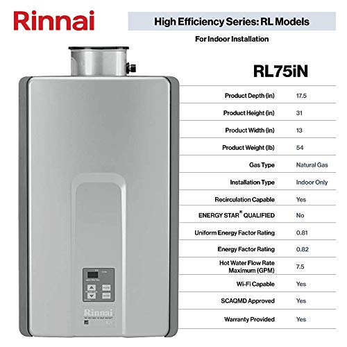 Rinnai RL Series HE+ Tankless Hot Water Heater: Indoor Installation