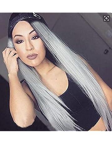 Eseewigs sintetico peluca larga recta Ombre dos tonos negro enraizada gris resistente al calor barato parte