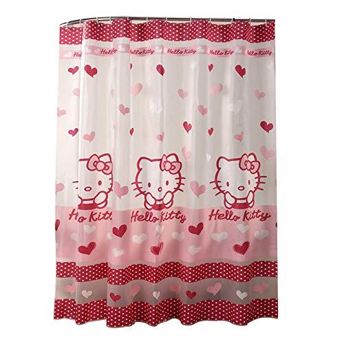 CL- Shower Curtain Bathroom Waterproof Thickening Mildew Cute Hello Kitty Bathroom Partition Curtain Translucent Waterproof Curtain 1800X1800mm Shower Curtain