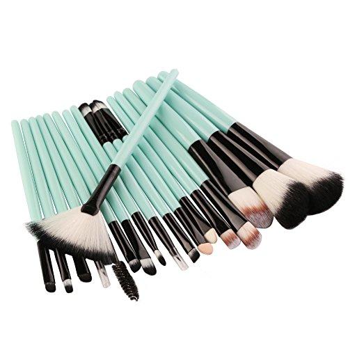 Adpartner 18pcs Makeup Brushes Set Eye Shadow Brush Kit Face Kabuki Make Up Cosmetic Brush Soft Bristles Green Plastic Handle Foundation Blush Concealer Beauty Tools - White Bristles