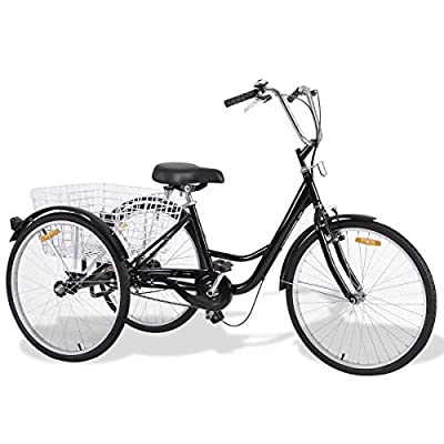 zwan Black Single Speed Tricycle with Adjustable Seat Large Wheels with Ebook