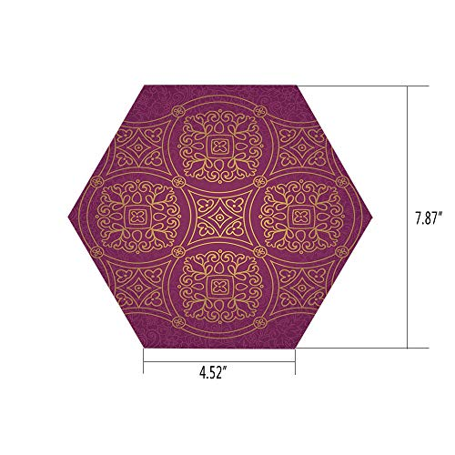 PTANGKK Hexagon Wall Sticker,Mural Decal,Purple Mandala,Persian Ornamental Lace Pattern Traditonal Authentic Arabic Folkloric Boho Design,Gold,for Home Decor 4.52x7.87 10 Pcs/Set - Ornamental Lace Pattern
