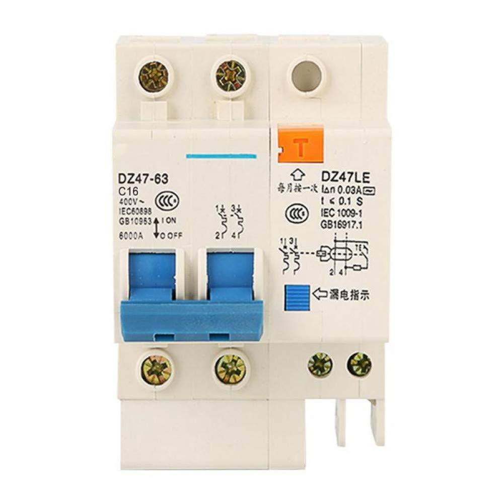 Disyuntor Dz47Le-63 Rccb 2P Mini Disyuntor De Corriente Residual Protector De Fugas De Electricidad Del Hogar Protección Contra Cortocircuitos De Sobrecarga De Circuito