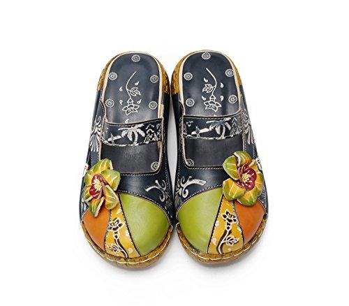 Sandalias de Mujer, Popoti Sandalias de Cuero Zapatillas Mocasines Chanclas de Verano Zapatillas de Flores Vintage Zapatillas de Chanclas Tacón De ...