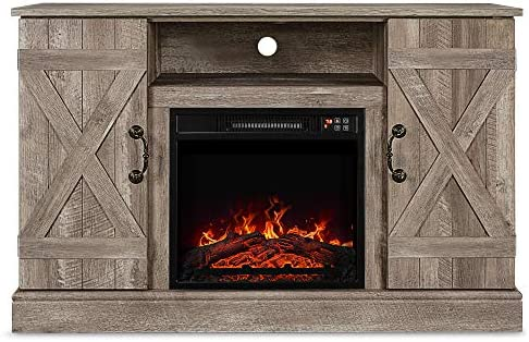 BELLEZE 47 TV Stand Entertainment Center for TV s Up to 50 W Infrared Electric Fireplace, Ashland Pine