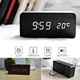 Bluecookies Cubic Wood LED Alarm Clock Wooden Mini Desk Clock with Temperature Time Date Display Sound Control White Light