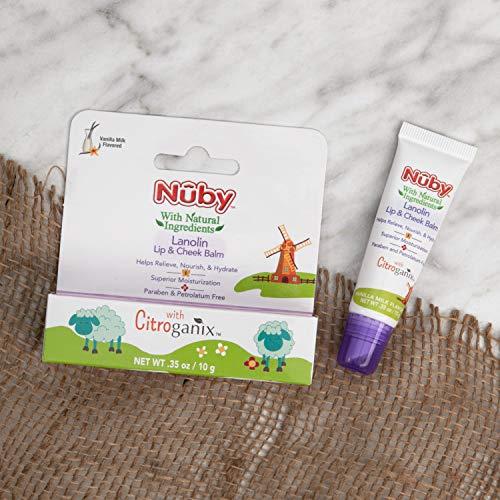 Nuby Natural Lanolin Lip & Cheek Balm for Baby, Vanilla Milk Flavor, 1 Pack