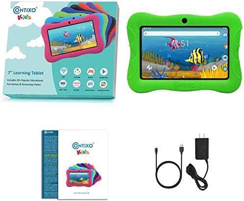 Contixo V9-3-32 7 Inch Kids Tablet, 2GB RAM 32 GB ROM, Android 10 Tablet, Educational Tablets for Kids, Parental Control Pre Installed Learning Game Apps WiFi Bluetooth Tablets for Kids, Green