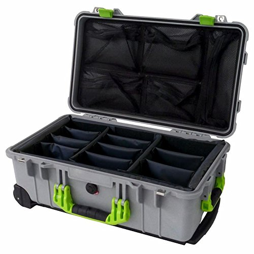 シルバー1510 Case withライムグリーンハンドル&ラッチ。Withブラックディバイダー& Lid Org。 B075CDDKVF