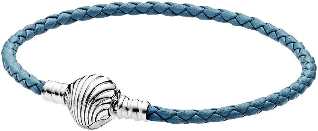 Pandora Bracelet en Cuir tressé avec Fermoir en Coquillage ...