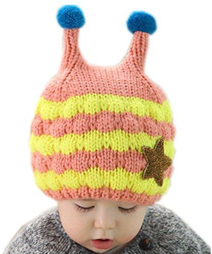 Kafeimali Children's Baby Winter Stripe Caps Crochet Earflap Beanie Knit Cartoon Hats (Pink)