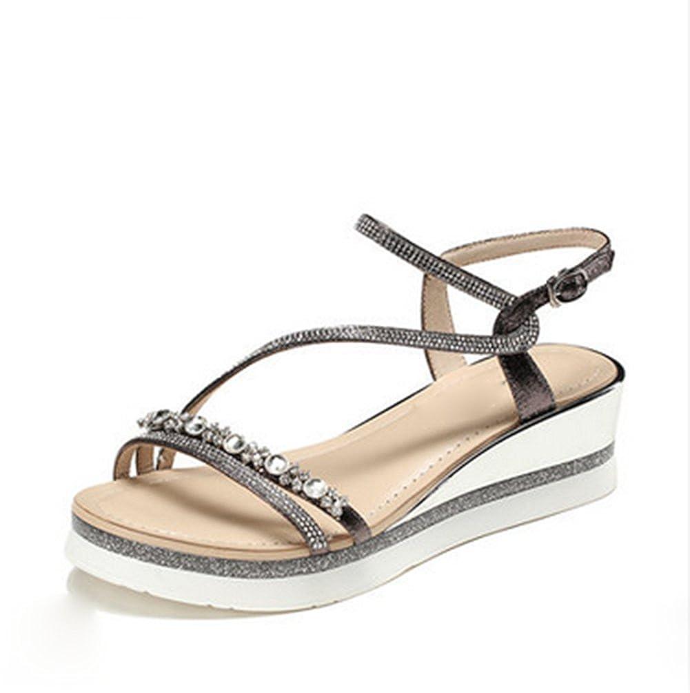Liuhoue Damenmode Sandalen Sandalen, Sommer Mid Heel Sandalen Damenmode Plattform Schnalle Gurt Zehenoffenen Freizeitschuhe f7a012