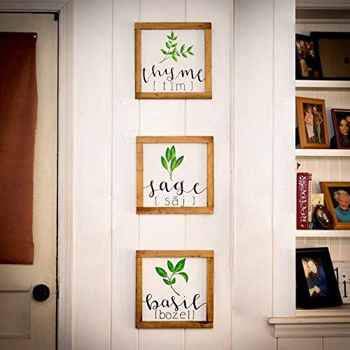 (Fresh herbs signs Full set Farmhouse kitchen Kitchen wall decor Rustic kitchen decor Spring decor New for spring Pallet signs Framed signs)