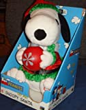 Peanuts Musical Animated Plush Snoopy Santa Holding a Christmas Ball Decoration - Dances to Holiday Music by Gemmy