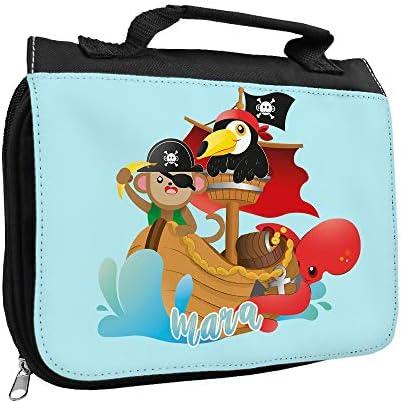 Kulturbeutel mit Namen Mara und Tier Piraten-Motiv   Kulturtasche mit Vornamen   Waschtasche für Kinder