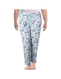 Nuit Rouge Womens Plus Fleece Floral Printed Long Pajama Bottoms Multi 1X
