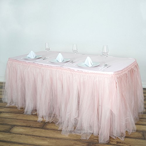 BalsaCircle 21 feet x 29-Inch Blush Tulle Tutu Table Skirt with 2 Layers Linens Wedding Party Events Decorations Kitchen -