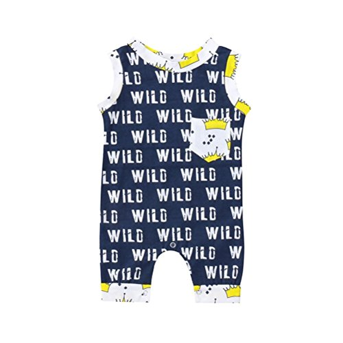 Palarn 2018 Summer Newborn Baby Boys Girls Letter Crown Print Pocket Romper Jumpsuit Clothes