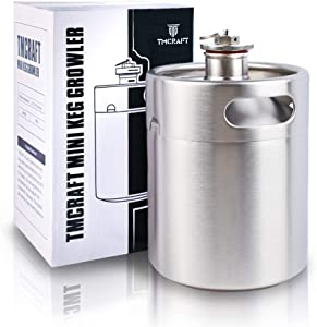 TMCRAFT 64OZ Stainless Steel Mini Keg, Portable beer growler with Exhaust Valve Designed Cap to Keep Beverage Fresh.