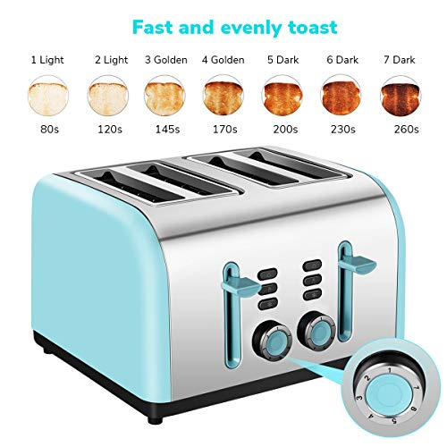 Toaster 4 Slice Wide Slot, Kitchen Toaster Stainless Steel Compact, Sleek Bread Toaster Best Rated with Quick Defrost Reheat Cancel Button by KEEMO by Keemo (Image #3)