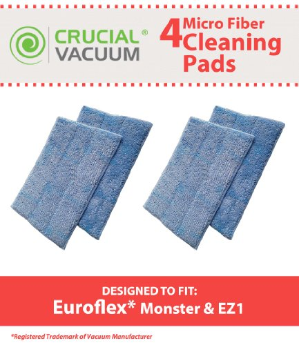4 Replacements for Euroflex EZ1 Monster Microfiber Steam Pads, Washable & Reusable, by Think Crucial
