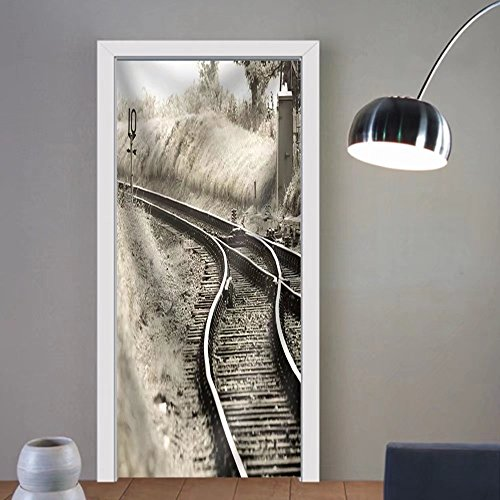 Niasjnfu Chen custom made 3d door stickers Old Fashioned Rail Tracks Merging into One Fabric Home Decor For Room Decor 30x79