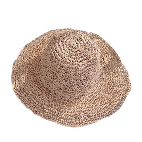 (Summer Women Outdoors Sunshade Straw Hat Beach Hat Foldable Hat Handmade Weave Raffia Sun Hats Pink)