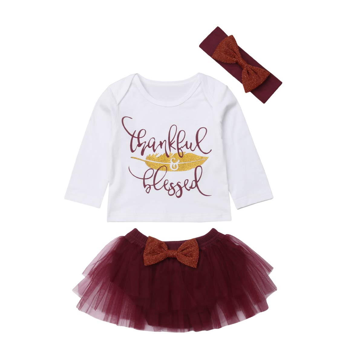 Bowknot Headband Outfits Thanksgiving Party Clothing Set 3Pcs Baby Girl Long Sleeve Thankful Blessed Print Top Tutu Skirt