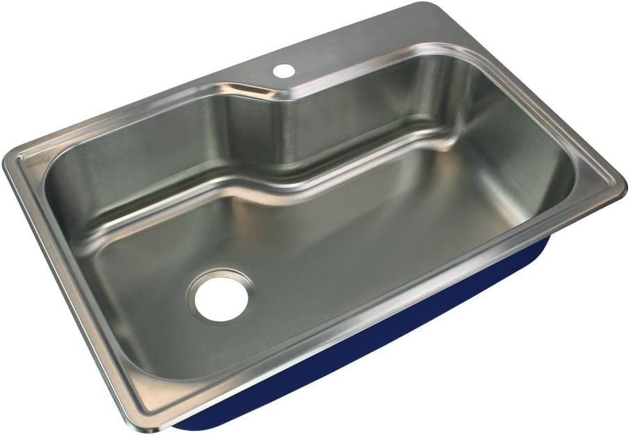Transolid MTSO33229-1 Meridian 1-Hole Drop-In Single Bowl Kitchen Sink, 22 1 64 L x 33 W x 9 H, Brushed Stainless Steel