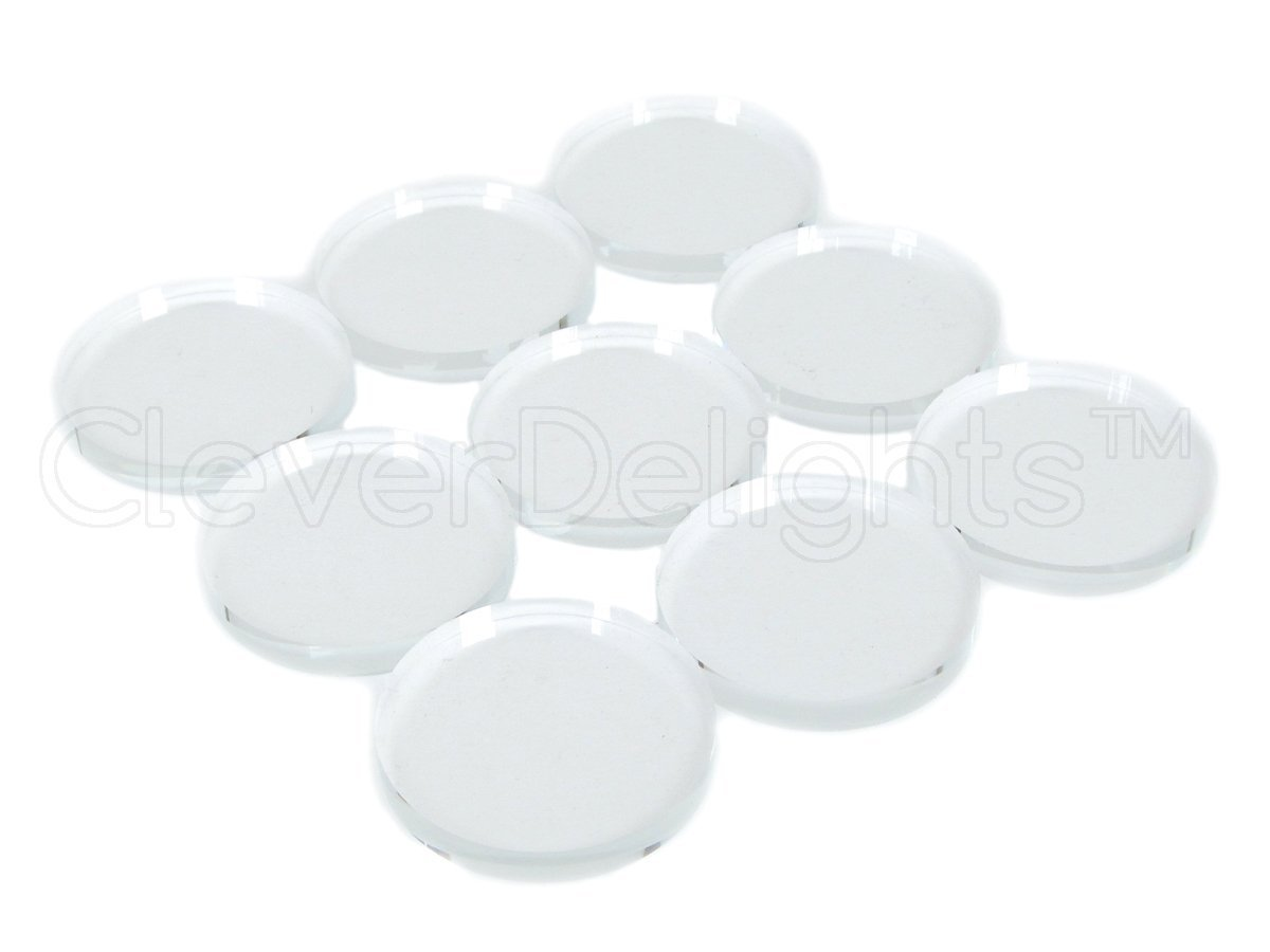 50 CleverDelights Round Glass Tiles - 1 3/16'' (30 mm) Diameter - 2 Flat Sides - Clear Glass Tiles - For Photo Pendants Mosaics Trays - 1 3/16 inch 30mm Tiles - 4mm Thick