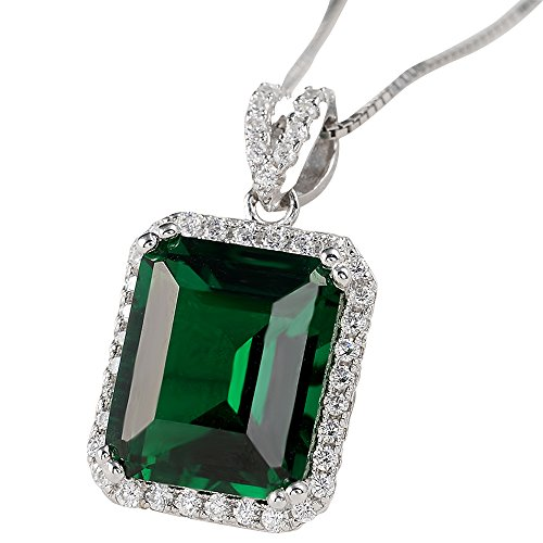 Newshe Jewellery 5.3ct Green Created Emerald 925 Solid Sterling Silver Pendant Necklace With 18-Inch Chain - Stone 3 Pendant Cut Princess