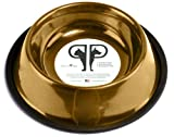 Platinum Pets 10 Cup 24 Karat Gold Stainless Steel Embossed Non-tip Dog Bowl, My Pet Supplies