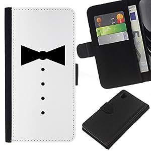 Sony Xperia Z1 L39 C6902 C6903 C6906 C6916 C6943 , la tarjeta de Crédito Slots PU Funda de cuero Monedero caso cubierta de piel (Minimalist Tuxedo Bowtie)