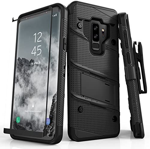 Zizo 1BOLT-SAMGS9PLUS-BKBK Bolt Cover Kickstand and Holster Case with Glass Screen Protector for Samsung Galaxy S9+ - Black