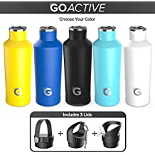 GO Active Flex- Stainless Steel Double Wall Bottle comes with 3 lids. Use Hot as a Travel Coffee Mug or cold as Insulated Sport Bottle. Hot Drinks 12+ hours Cold drinks over 24hrs (White, 24 oz)