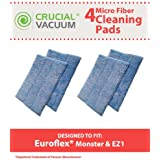 4 Highly Durable Washable & Reusable Microfiber Steam Pads for Euroflex EZ1 Steam Mops; Designed & Engineered by Think Crucial