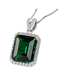 "Newshe Created Green Emerald Sterling Silver Pendant Necklace for Women 18"" Chain Gift"
