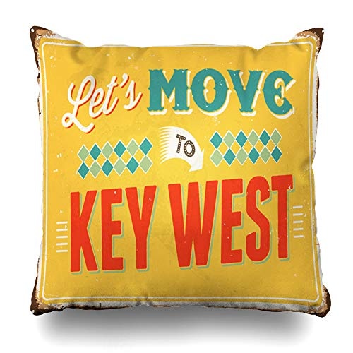 - Alfredon Throw Pillow Cover Florida Vintage Lets Move Key Leisure 39 to West 40S 50S Design Quote Pillowcase Square Size 20 x 20 Inches Zippered Home Decor Cushion Case