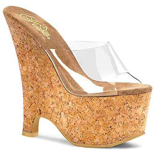 6 1/2 Inch Sexy Casual Shoe Cork Wedge Sandal Sexy Shoes Clear/Cork Size: -